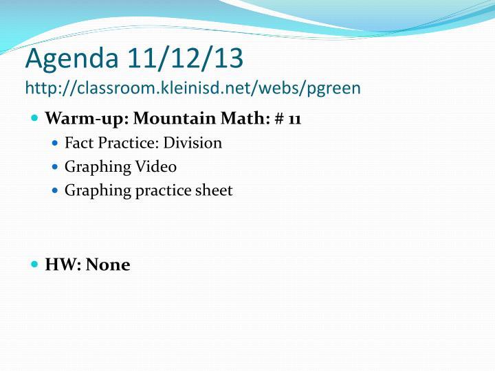 Agenda 11/12/13