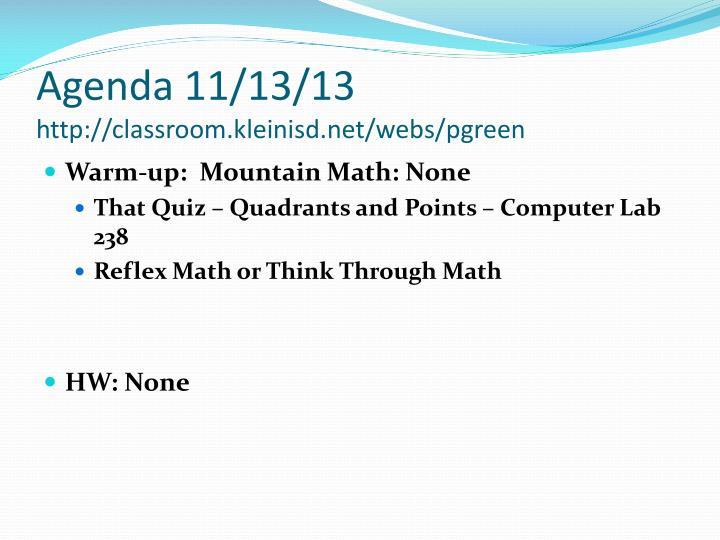 Agenda 11/13/13