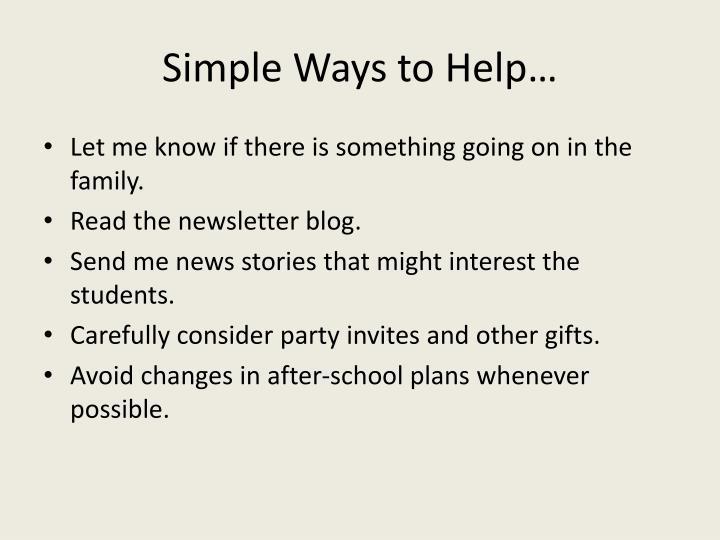 Simple Ways to Help…