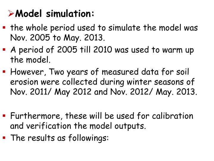 Model simulation: