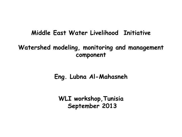 Middle East Water Livelihood  Initiative