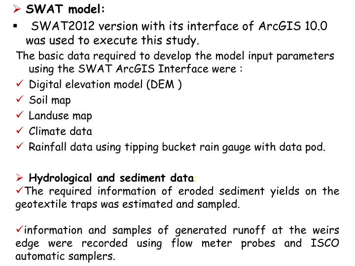 The basic data required to develop the model input parameters using the SWAT