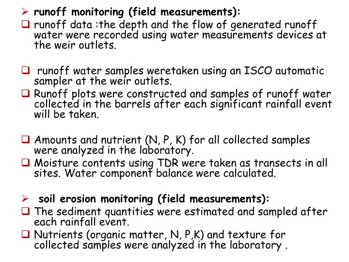 runoff monitoring (field measurements):