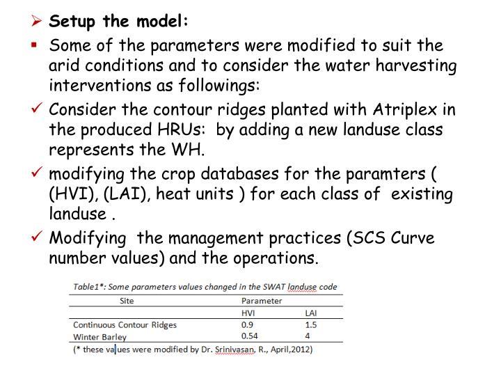 Setup the model:
