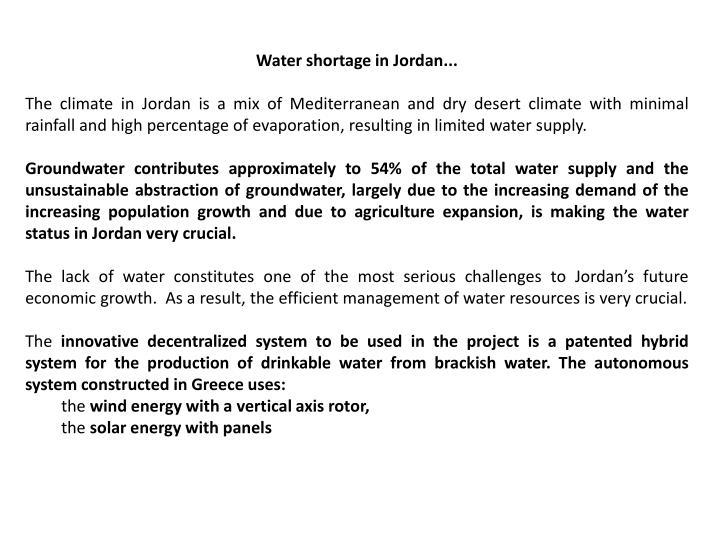 Water shortage in Jordan