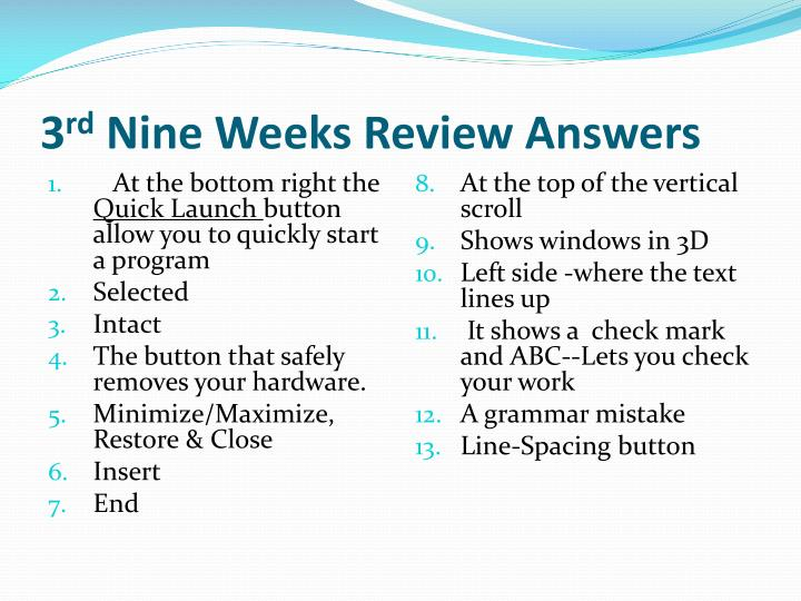 3 rd nine weeks review answers