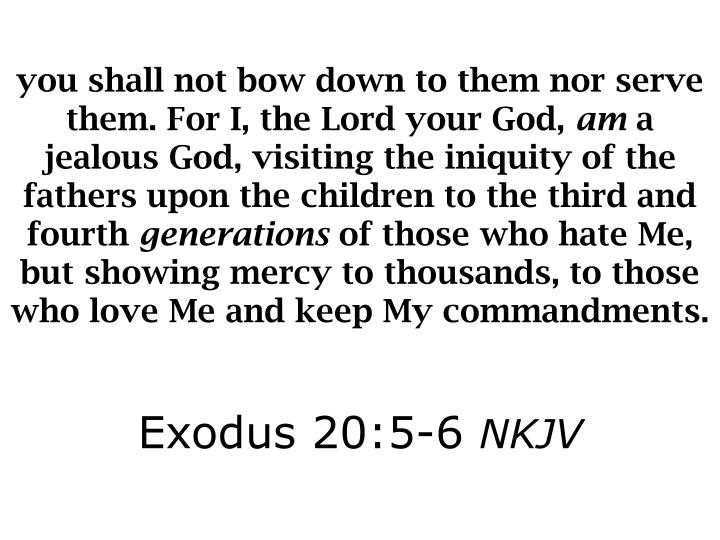 you shall not bow down to them nor serve them. For I, the Lord your God,