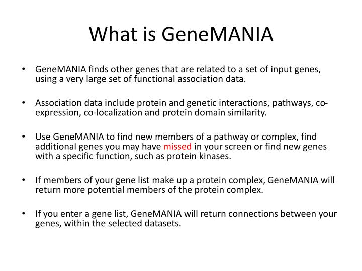 What is genemania