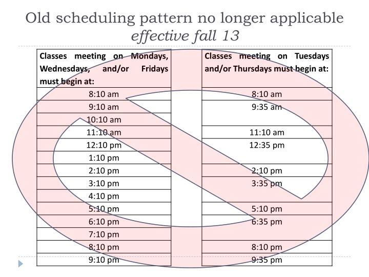 Old scheduling pattern no longer applicable