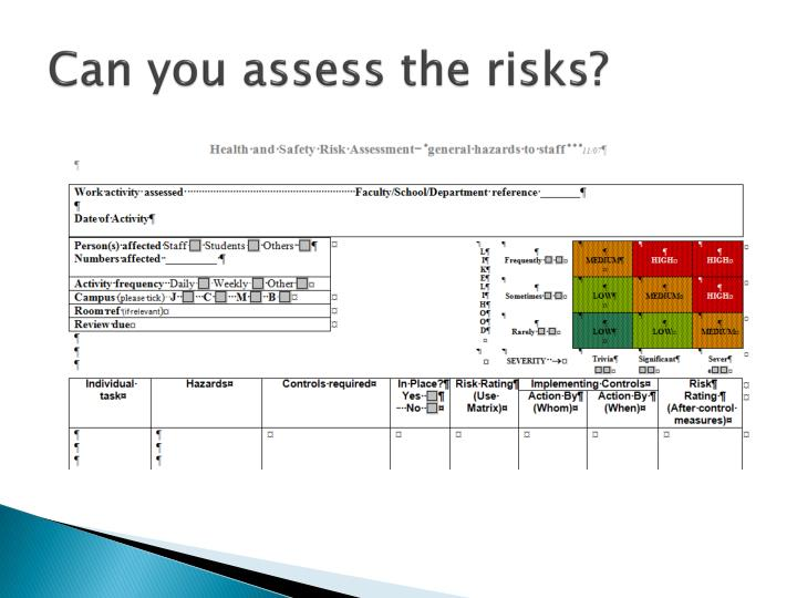 Can you assess the risks?