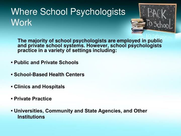Where School Psychologists Work