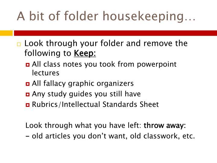 A bit of folder housekeeping…