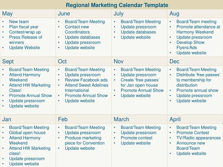 Regional Marketing Calendar Template