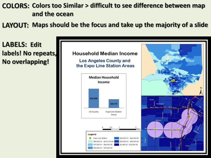 Colors too Similar > difficult to see difference between map and the ocean