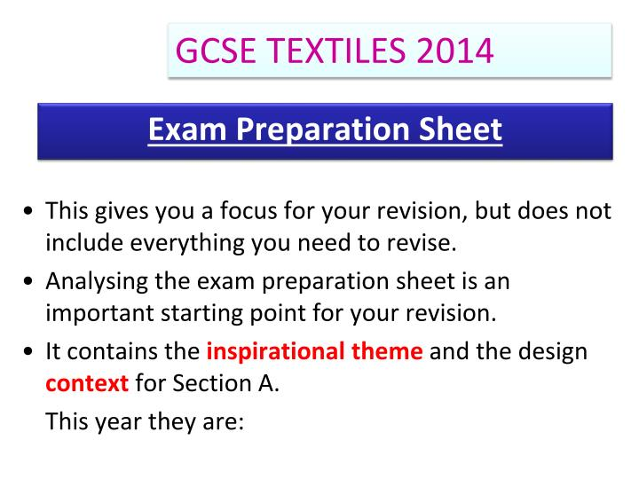 Exam preparation sheet