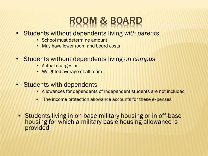 Students without dependents living