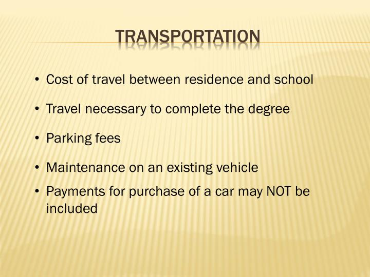 Cost of travel between residence and