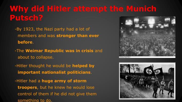 Why did Hitler attempt the Munich Putsch?