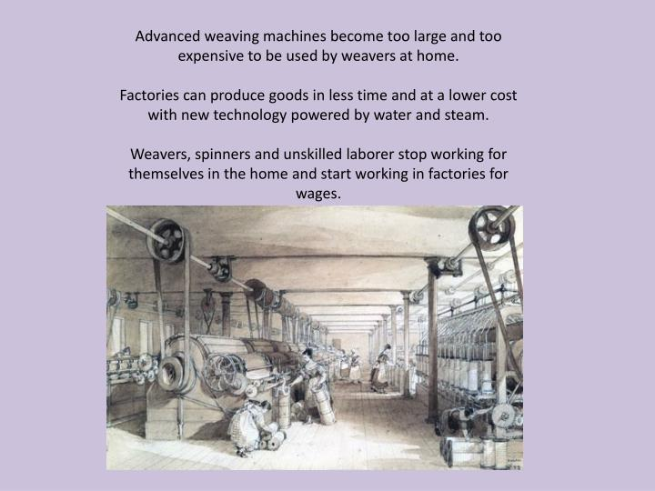Advanced weaving machines become too large and too expensive to be used by weavers at home.