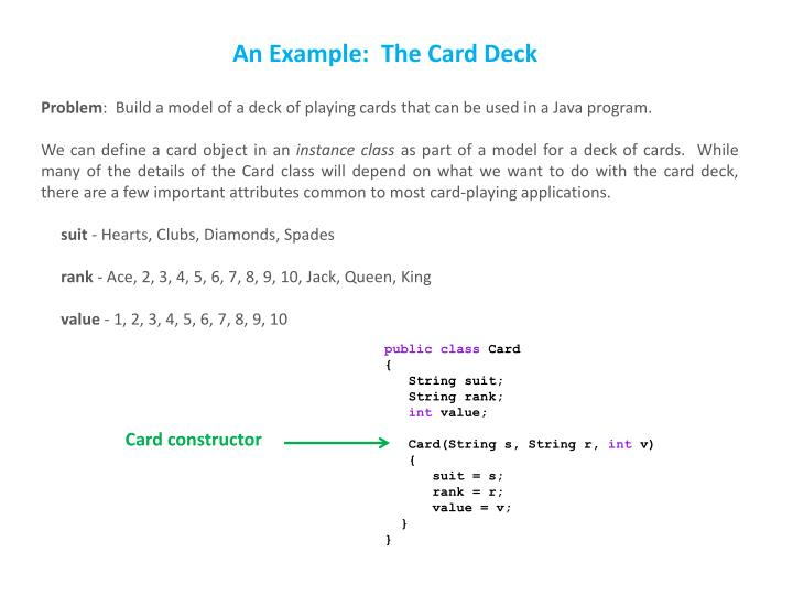 An Example:  The Card Deck