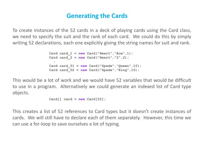 Generating the Cards