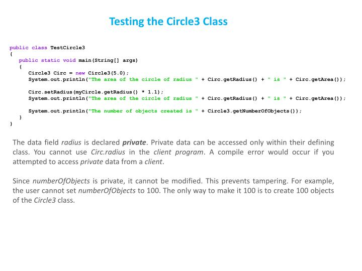 Testing the Circle3 Class