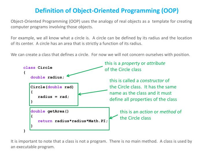 Definition of Object-Oriented Programming (OOP)