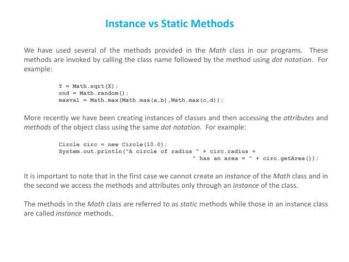 Instance vs Static Methods