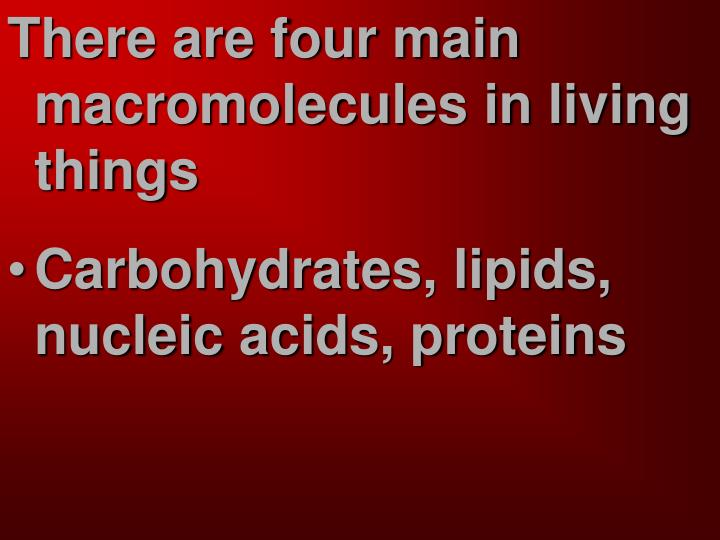 There are four main macromolecules in living things