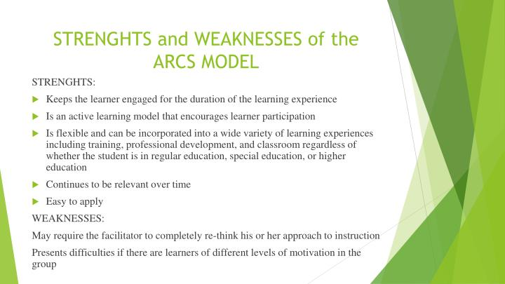 STRENGHTS and WEAKNESSES of the ARCS MODEL