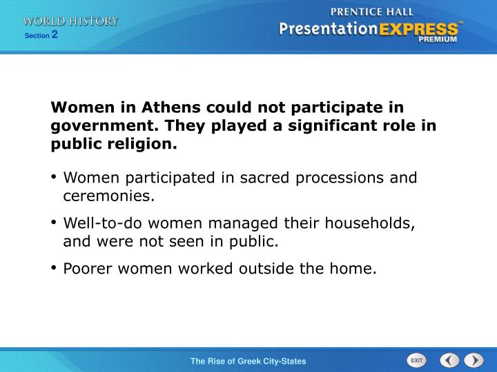 Women in Athens could not participate in government. They played a significant role in public religion.