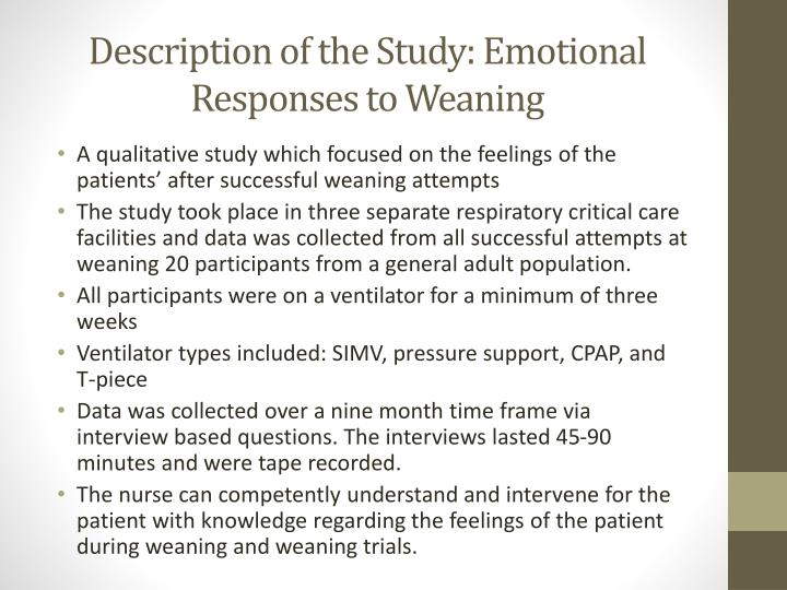 Description of the Study: Emotional Responses to Weaning