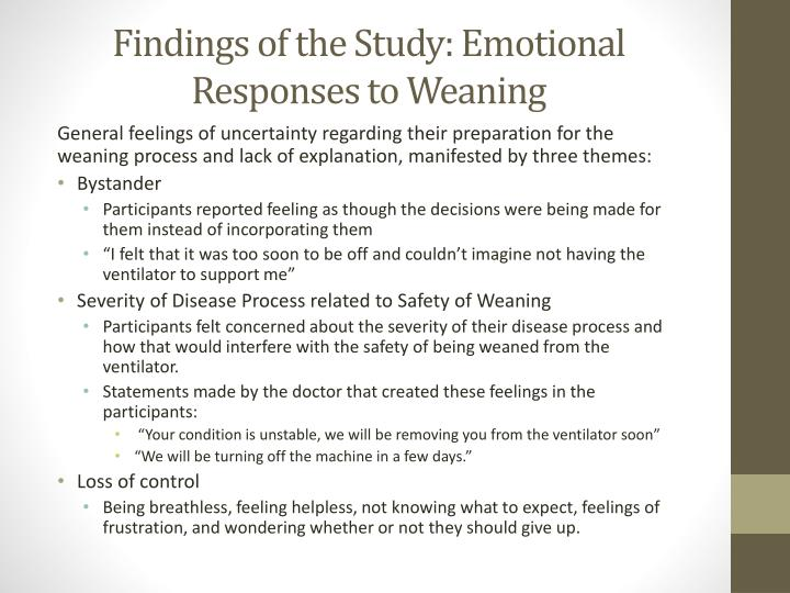 Findings of the Study: Emotional Responses to Weaning