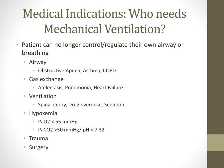 Medical Indications: Who needs Mechanical Ventilation?
