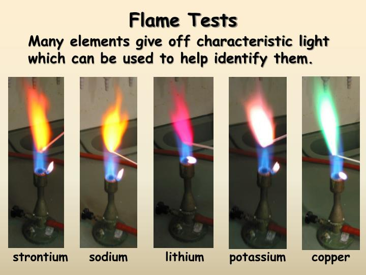 flame test and spectroscopy Flame test lab morgan chemistry cp 5/30/14 abstract- in the flame test lab, the flame test was performed to excite the electrons in the samples and observe the color of the flame the flame emits a color because each element has an exactly defined emission spectrum, which one can use to identify them.