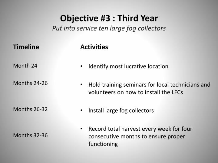 Objective #3 : Third Year