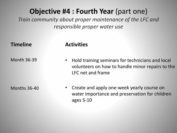 Objective #4 : Fourth Year