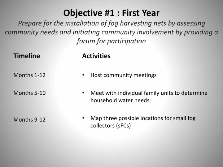 Objective #1 : First Year