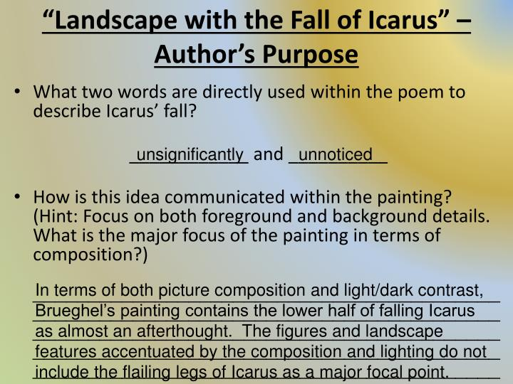 """icarus poetry analysis Edward field's """"icarus,"""" written in 1963, is based on the theological myth of icarus and daedalus but is set in a modern world."""
