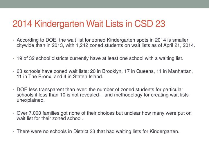 2014 Kindergarten Wait Lists in CSD 23