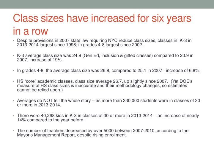 Class sizes have increased for six years in a row
