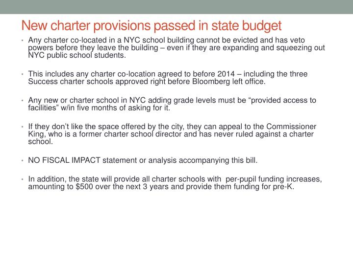 New charter provisions passed in state budget