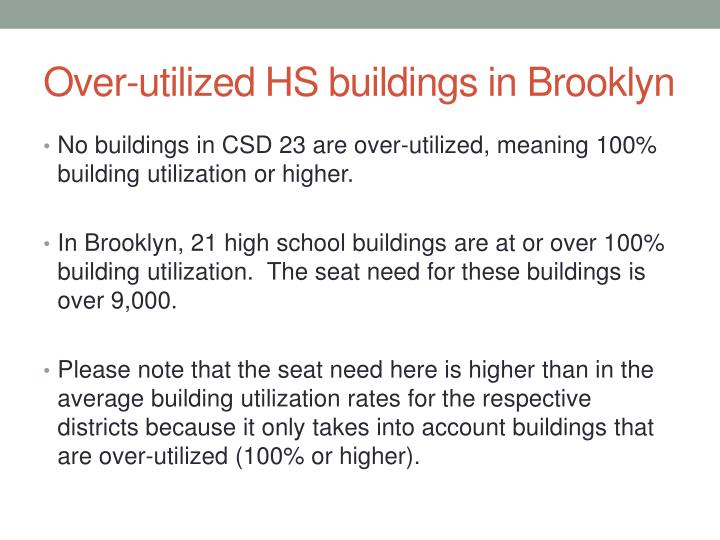 Over-utilized HS buildings in Brooklyn