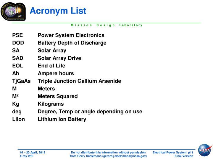 Acronym List