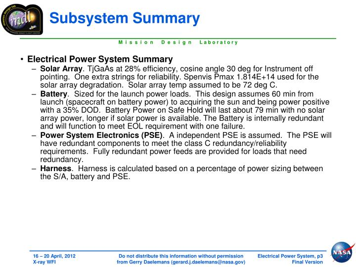 Subsystem Summary