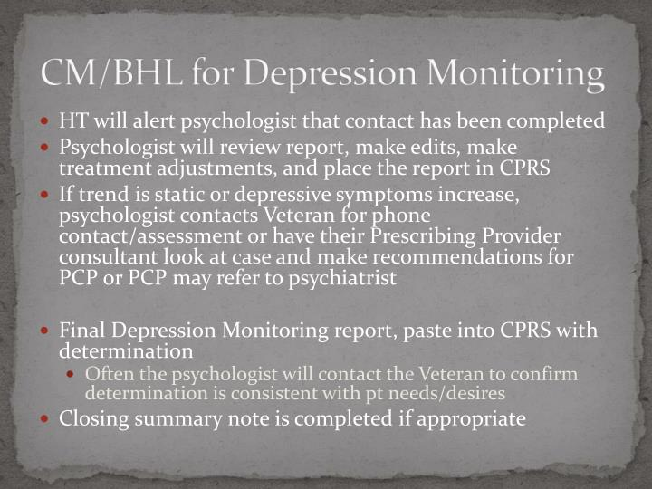 CM/BHL for Depression Monitoring