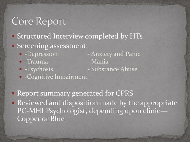 Core Report
