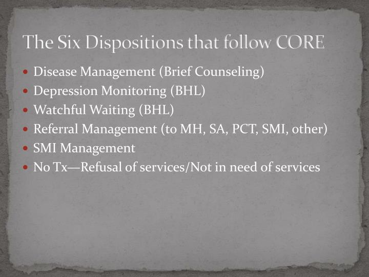 The Six Dispositions that follow CORE