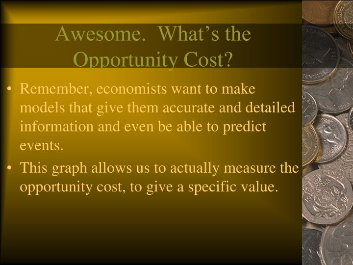 Awesome.  What's the Opportunity Cost?