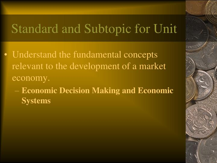 Standard and Subtopic for Unit